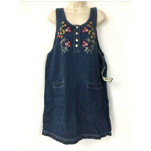 NWT Vintage Denim Jumper Dress L Floral Embroidery